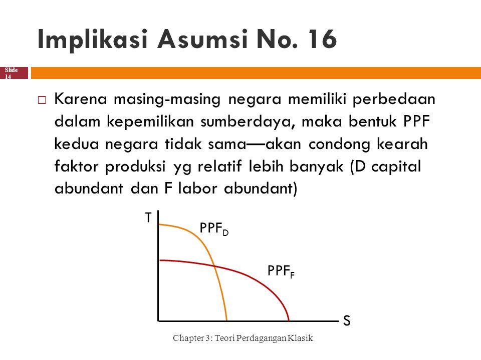 Implikasi Asumsi No. 16 Chapter 3: Teori Perdagangan Klasik Slide 14  Karena masing-masing negara memiliki perbedaan dalam kepemilikan sumberdaya, ma
