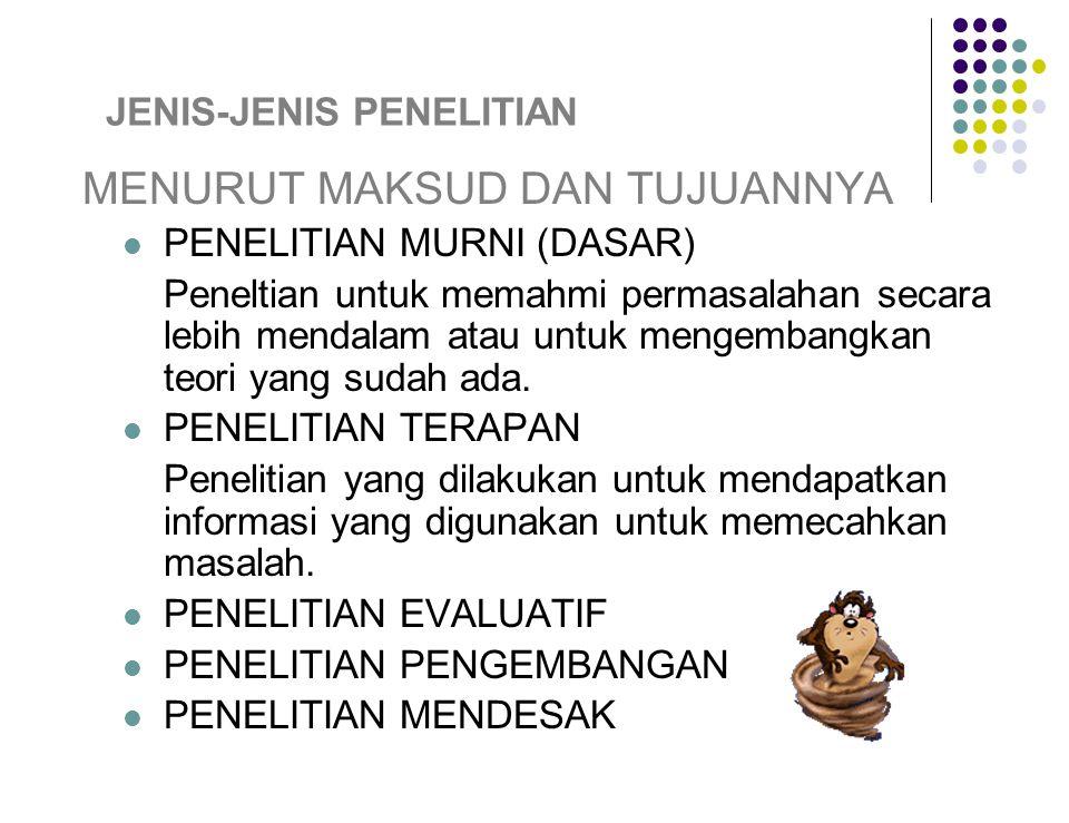 JENIS-JENIS PENELITIAN MENURUT MAKSUD DAN TUJUANNYA PENELITIAN MURNI (DASAR) Peneltian untuk memahmi permasalahan secara lebih mendalam atau untuk mengembangkan teori yang sudah ada.