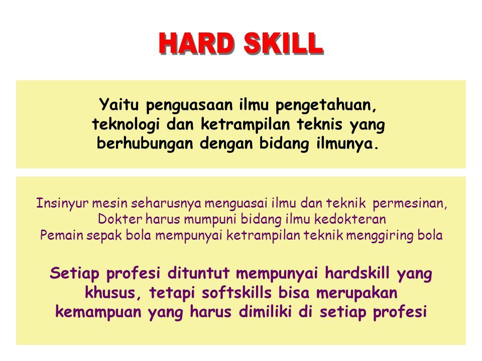 Yaitu penguasaan ilmu pengetahuan, teknologi dan ketrampilan teknis yang berhubungan dengan bidang ilmunya. Insinyur mesin seharusnya menguasai ilmu d