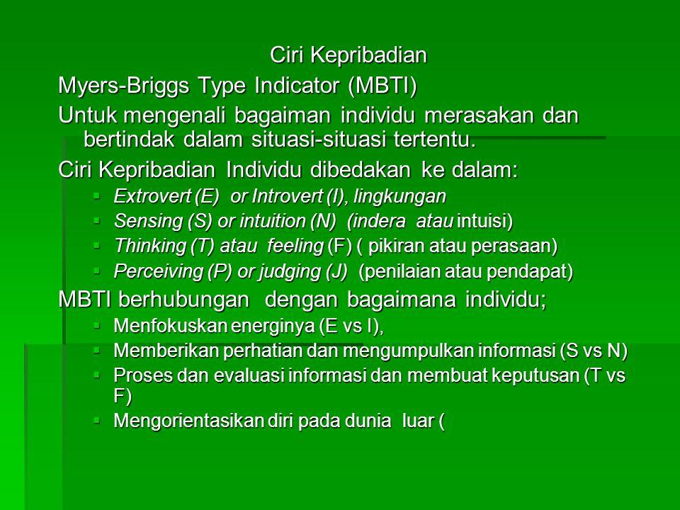 Ciri Kepribadian Myers-Briggs Type Indicator (MBTI) Untuk mengenali bagaiman individu merasakan dan bertindak dalam situasi-situasi tertentu. Ciri Kep