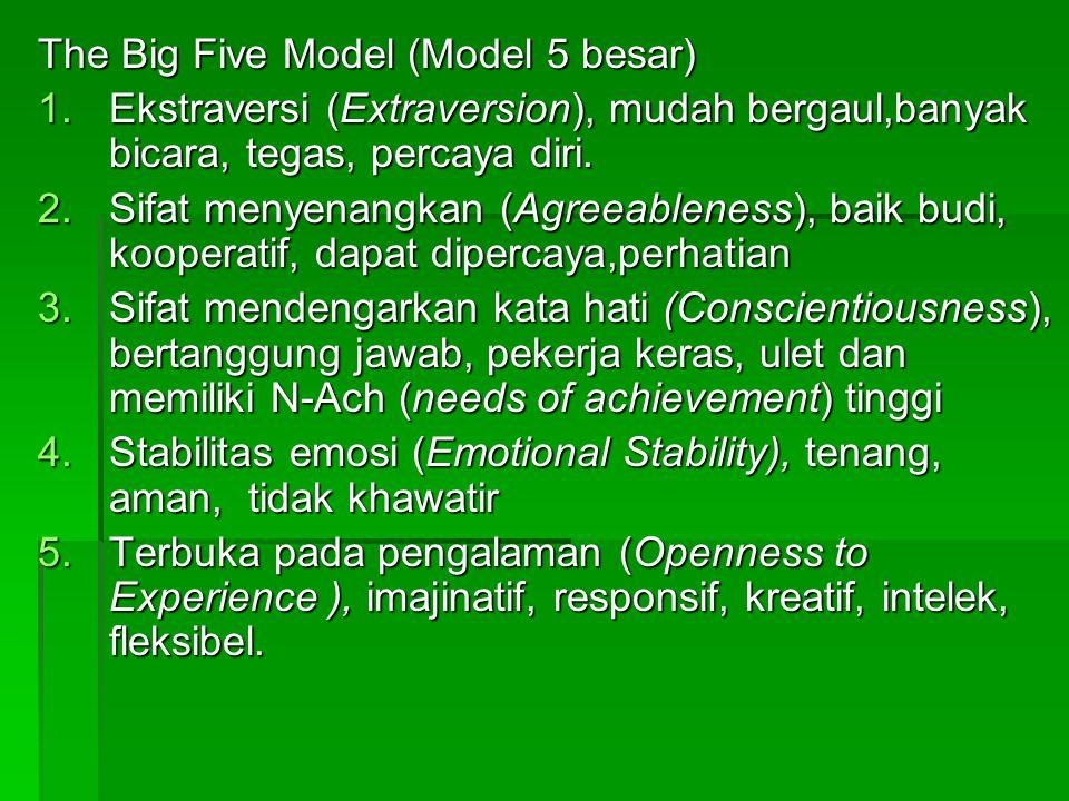 The Big Five Model (Model 5 besar) 1.Ekstraversi (Extraversion), mudah bergaul,banyak bicara, tegas, percaya diri. 2.Sifat menyenangkan (Agreeableness