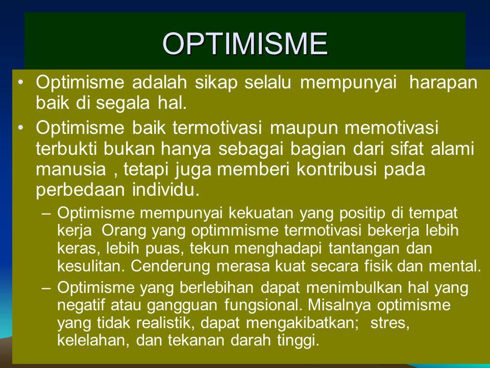 OPTIMISME Optimisme adalah sikap selalu mempunyai harapan baik di segala hal. Optimisme baik termotivasi maupun memotivasi terbukti bukan hanya sebaga