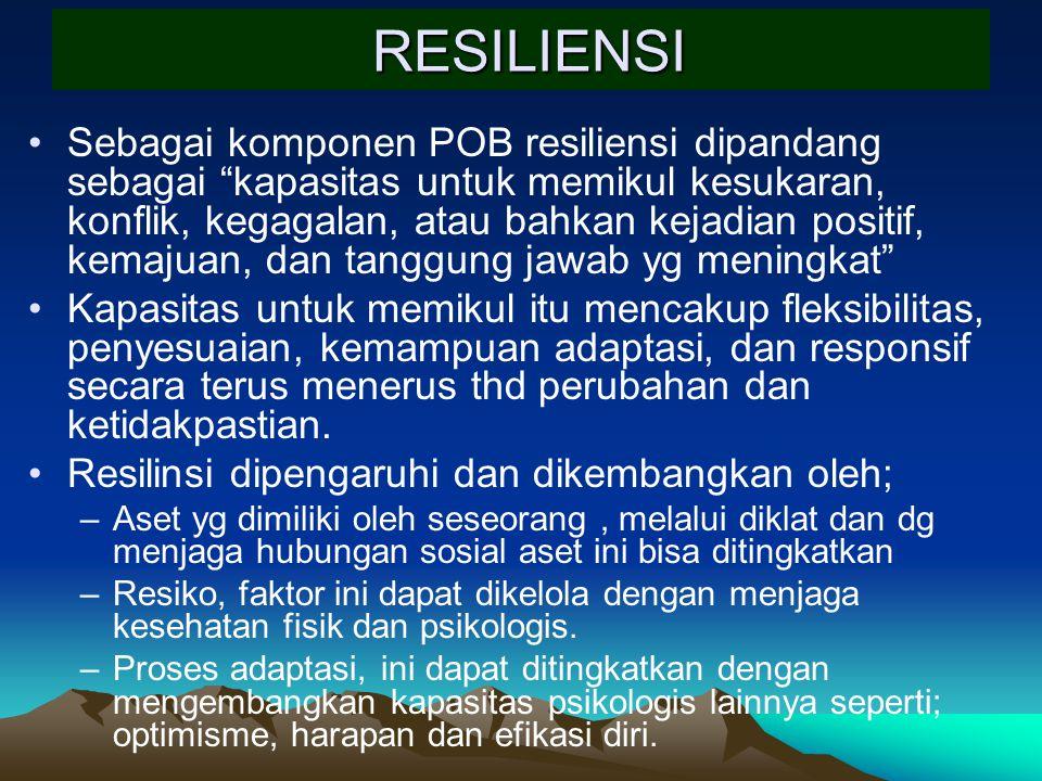 """RESILIENSI RESILIENSI Sebagai komponen POB resiliensi dipandang sebagai """"kapasitas untuk memikul kesukaran, konflik, kegagalan, atau bahkan kejadian p"""