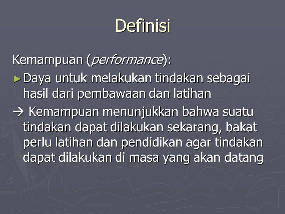 Definisi Kemampuan (performance): ► Daya untuk melakukan tindakan sebagai hasil dari pembawaan dan latihan  Kemampuan menunjukkan bahwa suatu tindaka