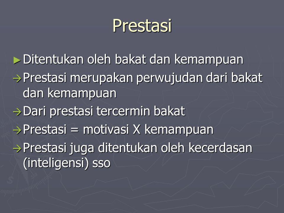 Prestasi ► Ditentukan oleh bakat dan kemampuan  Prestasi merupakan perwujudan dari bakat dan kemampuan  Dari prestasi tercermin bakat  Prestasi = m