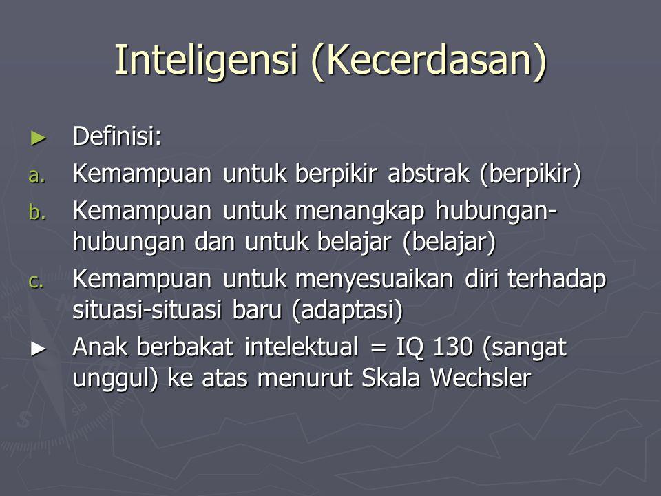 Inteligensi (Kecerdasan) ► Definisi: a. Kemampuan untuk berpikir abstrak (berpikir) b. Kemampuan untuk menangkap hubungan- hubungan dan untuk belajar