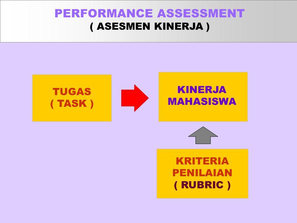 TUGAS ( TASK ) KINERJA MAHASISWA KRITERIA PENILAIAN ( RUBRIC ) PERFORMANCE ASSESSMENT ( ASESMEN KINERJA )