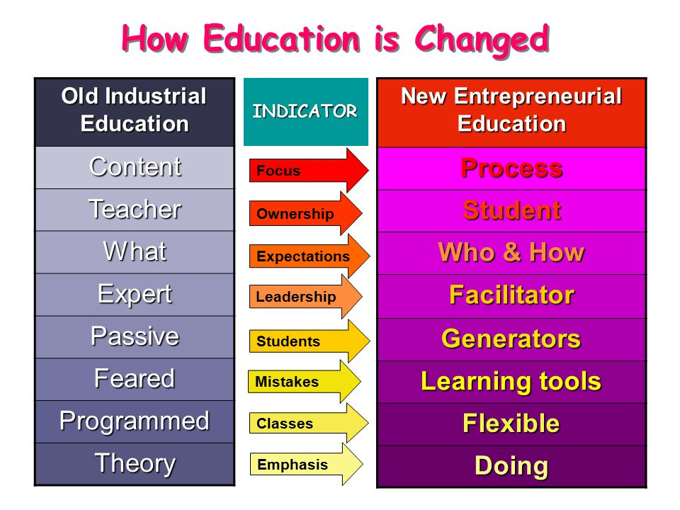 New Entrepreneurial Education Process Student Who & How Facilitator Generators Learning tools Flexible Doing Focus Expectations Leadership Students Mistakes Classes Emphasis Ownership Old Industrial EducationContent Teacher What Expert Passive Feared Programmed Theory How Education is Changed INDICATOR