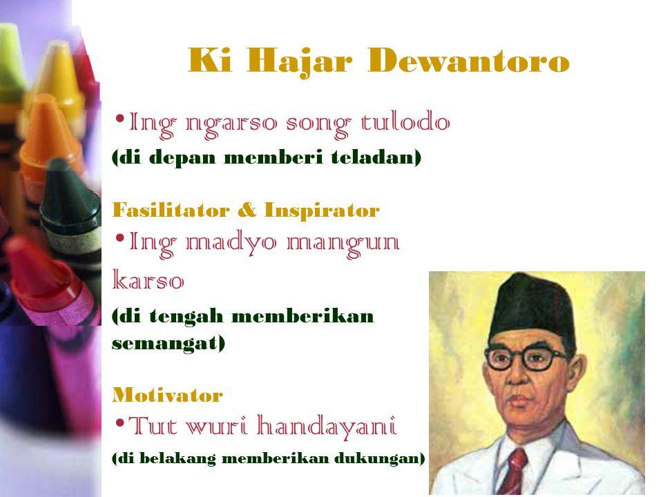 Ki Hajar Dewantoro Ing ngarso song tulodo (di depan memberi teladan) Fasilitator & Inspirator Ing madyo mangun karso (di tengah memberikan semangat) Motivator Tut wuri handayani (di belakang memberikan dukungan)