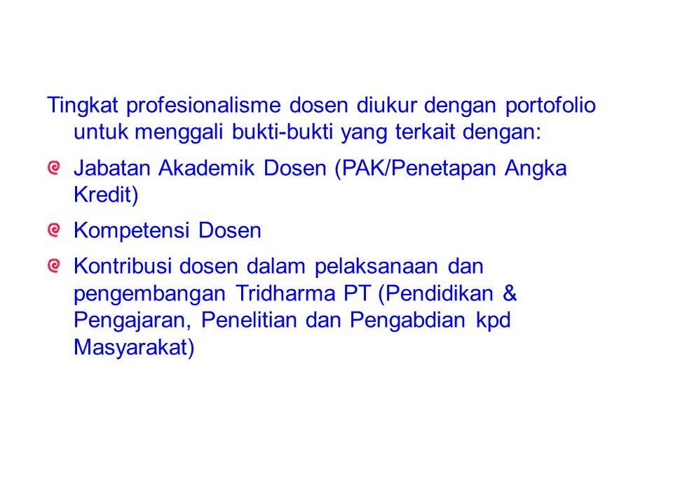 Tingkat profesionalisme dosen diukur dengan portofolio untuk menggali bukti-bukti yang terkait dengan: Jabatan Akademik Dosen (PAK/Penetapan Angka Kredit) Kompetensi Dosen Kontribusi dosen dalam pelaksanaan dan pengembangan Tridharma PT (Pendidikan & Pengajaran, Penelitian dan Pengabdian kpd Masyarakat)
