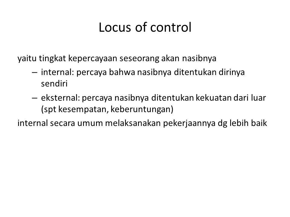 Locus of control yaitu tingkat kepercayaan seseorang akan nasibnya – internal: percaya bahwa nasibnya ditentukan dirinya sendiri – eksternal: percaya nasibnya ditentukan kekuatan dari luar (spt kesempatan, keberuntungan) internal secara umum melaksanakan pekerjaannya dg lebih baik