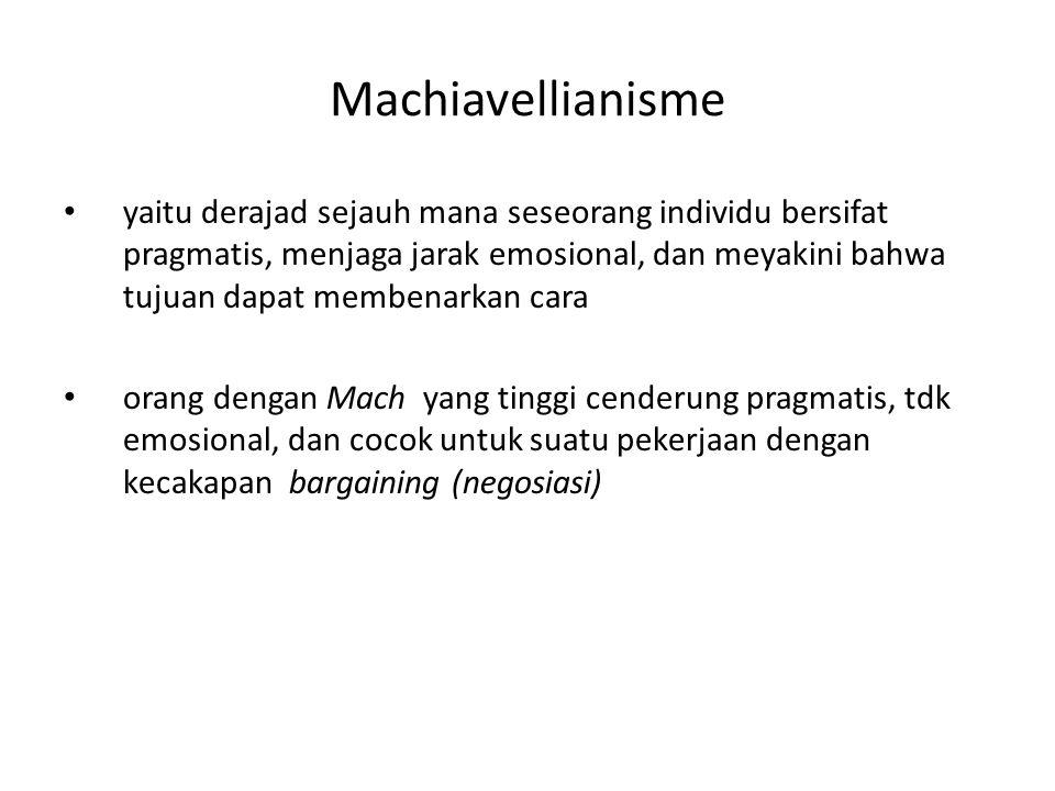 Machiavellianisme yaitu derajad sejauh mana seseorang individu bersifat pragmatis, menjaga jarak emosional, dan meyakini bahwa tujuan dapat membenarkan cara orang dengan Mach yang tinggi cenderung pragmatis, tdk emosional, dan cocok untuk suatu pekerjaan dengan kecakapan bargaining (negosiasi)