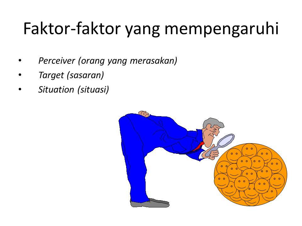 Faktor-faktor yang mempengaruhi Perceiver (orang yang merasakan) Target (sasaran) Situation (situasi)