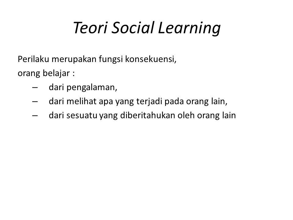 Teori Social Learning Perilaku merupakan fungsi konsekuensi, orang belajar : – dari pengalaman, – dari melihat apa yang terjadi pada orang lain, – dari sesuatu yang diberitahukan oleh orang lain
