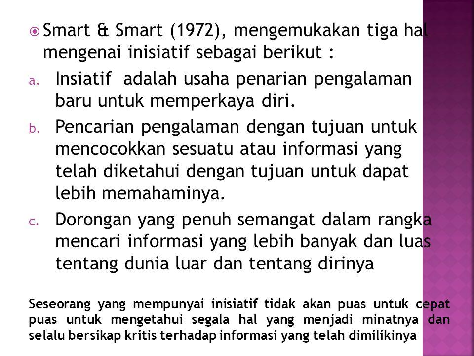  Smart & Smart (1972), mengemukakan tiga hal mengenai inisiatif sebagai berikut : a. Insiatif adalah usaha penarian pengalaman baru untuk memperkaya