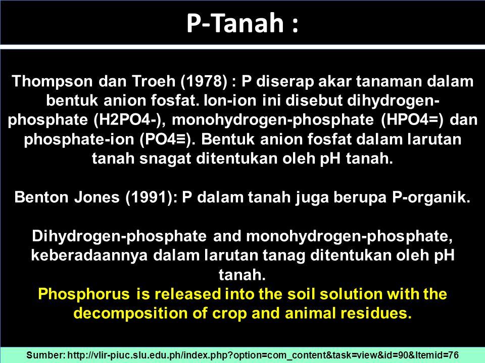 N-Tanah Benton Jones (1991): N dalam tubuh tanaman berupa N- organik dan N-anorganik; N bersenyawa dnegan carbon, hydrogen, oxygen dan sulfur membentuk asam amino, amino enzymes, nucleic acids, chlorophyll, alkaloids dan basa purine.
