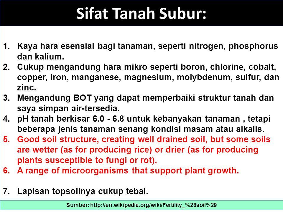 Sifat Tanah Subur: 1.Kaya hara esensial bagi tanaman, seperti nitrogen, phosphorus dan kalium.