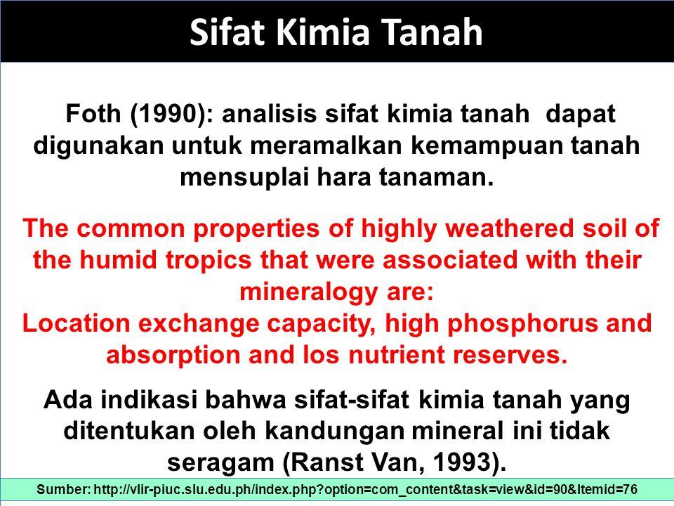 Sifat Kimia Tanah Foth (1990): analisis sifat kimia tanah dapat digunakan untuk meramalkan kemampuan tanah mensuplai hara tanaman.