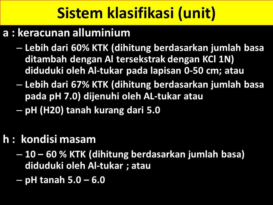 d : Daerah kering/kekurangan air 1.Kelengasan tanah termasuk ustik atau xerik dalam sistem klasifikasi taksonomi tanah atau 2.Tanah kering selama 90 hari secara kumulatif dalam satu tahun atau e : Nilai kapasitas tukar kation (KTK) -- rendah 1.Nilai KTK lapisan olah kurang dari 4 me/100 g dihitung dari jumlah basa ditambah kandungan Al yang terekstrak dengan KCl 1 N; atau 2.Nilai KTK kurang dari 10 me/100 g dihitung dari jumlah basa ditambah dengan jumlah Al dan H pada pH 8.0 Sistem klasifikasi (unit)
