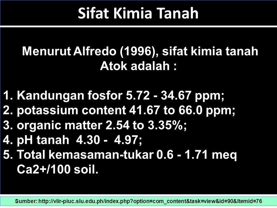 Sifat Kimia Tanah Menurut Alfredo (1996), sifat kimia tanah Atok adalah : 1.Kandungan fosfor 5.72 - 34.67 ppm; 2.potassium content 41.67 to 66.0 ppm; 3.organic matter 2.54 to 3.35%; 4.pH tanah 4.30 - 4.97; 5.Total kemasaman-tukar 0.6 - 1.71 meq Ca2+/100 soil.