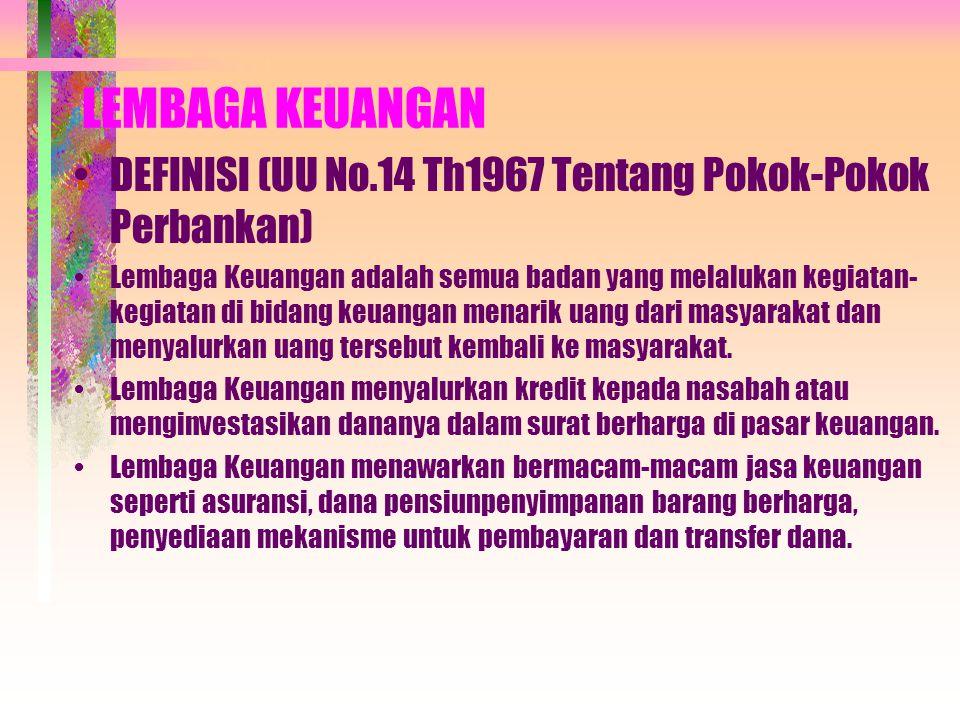 MATERI : Lembaga Keuangan Bank Indonesia Sebagai Bank Sentral Ruang Lingkup Lembaga Keuangan Bank Manajemen Bank Syariah Sewa Guna Usaha (Leasing) Modal Ventura Anjak Piutang (Factoring) Asuransi Dana Pensiun Pegadaian Koperasi Simpan Pinjam Pasar Modal Pasar Uang dan Pasar Valuta Asing Perusahaan Reksadana