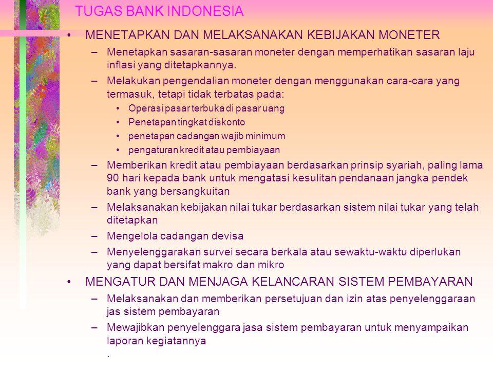 BANK INDONESIA SEBAGAI BANK SENTRAL PENGERTIAN BANK SENTRAL Bank Sentral merupakan lembaga negara yang mempunyai wewenang untuk mengeluarkan alat pembayaran yang sah di suatu negara, merumuskan dan melaksanakan kebijakan moneter, mengatur dan menjaga kelancaran sistem pembayaran, mengatur dan mengawasi perbankan, serta menjalankan fungsi sebagai lender of last resort.