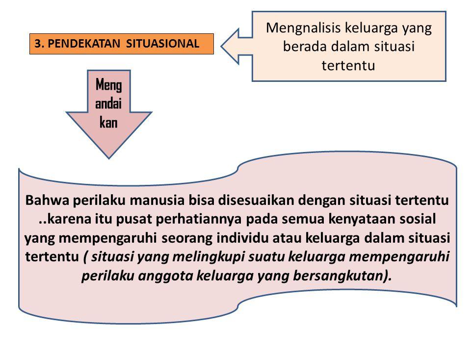 3. PENDEKATAN SITUASIONAL Mengnalisis keluarga yang berada dalam situasi tertentu Meng andai kan Bahwa perilaku manusia bisa disesuaikan dengan situas