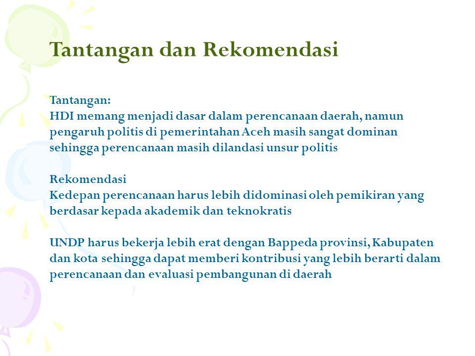 Tantangan dan Rekomendasi Tantangan: HDI memang menjadi dasar dalam perencanaan daerah, namun pengaruh politis di pemerintahan Aceh masih sangat dominan sehingga perencanaan masih dilandasi unsur politis Rekomendasi Kedepan perencanaan harus lebih didominasi oleh pemikiran yang berdasar kepada akademik dan teknokratis UNDP harus bekerja lebih erat dengan Bappeda provinsi, Kabupaten dan kota sehingga dapat memberi kontribusi yang lebih berarti dalam perencanaan dan evaluasi pembangunan di daerah