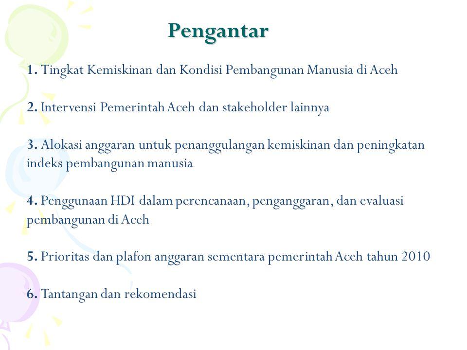 1. Tingkat Kemiskinan dan Kondisi Pembangunan Manusia di Aceh 2. Intervensi Pemerintah Aceh dan stakeholder lainnya 3. Alokasi anggaran untuk penanggu