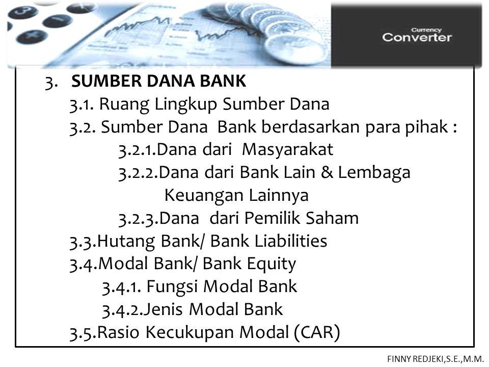 3. SUMBER DANA BANK 3.1. Ruang Lingkup Sumber Dana 3.2. Sumber Dana Bank berdasarkan para pihak : 3.2.1.Dana dari Masyarakat 3.2.2.Dana dari Bank Lain