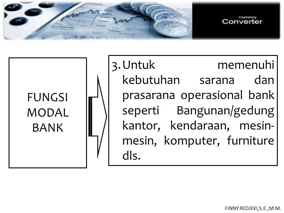 PASIVA FUNGSI MODAL BANK 3.Untuk memenuhi kebutuhan sarana dan prasarana operasional bank seperti Bangunan/gedung kantor, kendaraan, mesin- mesin, kom