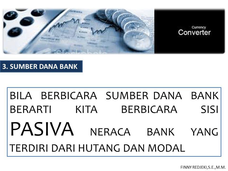 3. SUMBER DANA BANK BILA BERBICARA SUMBER DANA BANK BERARTI KITA BERBICARA SISI PASIVA NERACA BANK YANG TERDIRI DARI HUTANG DAN MODAL FINNY REDJEKI,S.