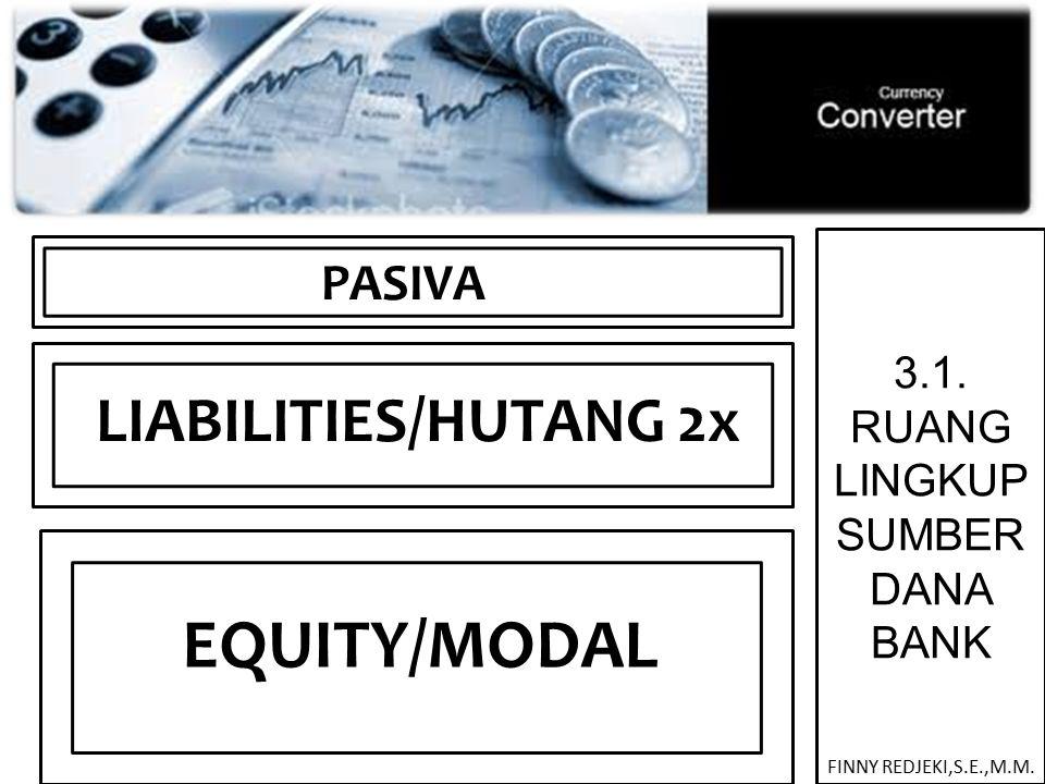 3.1. RUANG LINGKUP SUMBER DANA BANK PASIVA EQUITY/MODAL LIABILITIES/HUTANG 2x FINNY REDJEKI,S.E.,M.M.