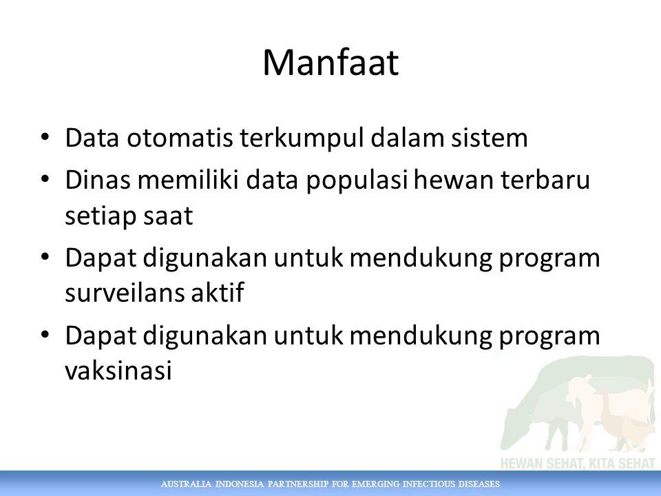 AUSTRALIA INDONESIA PARTNERSHIP FOR EMERGING INFECTIOUS DISEASES Manfaat Data otomatis terkumpul dalam sistem Dinas memiliki data populasi hewan terba