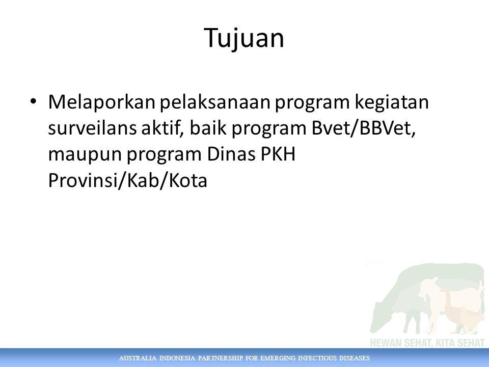 AUSTRALIA INDONESIA PARTNERSHIP FOR EMERGING INFECTIOUS DISEASES Tujuan Melaporkan pelaksanaan program kegiatan surveilans aktif, baik program Bvet/BB