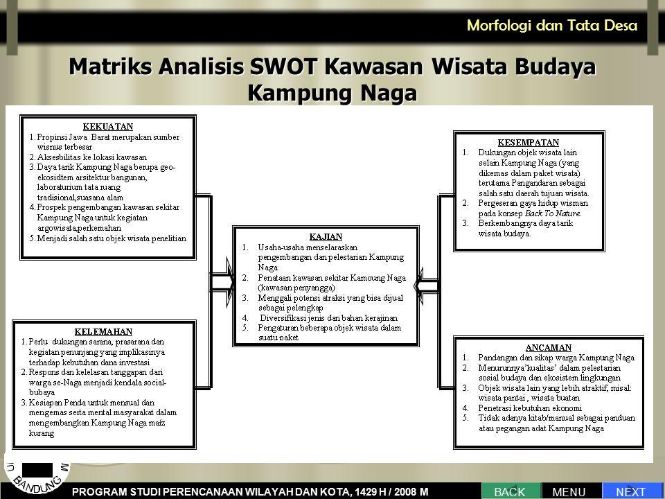 Matriks Analisis SWOT Kawasan Wisata Budaya Kampung Naga
