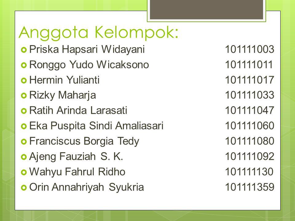 Anggota Kelompok:  Priska Hapsari Widayani101111003  Ronggo Yudo Wicaksono101111011  Hermin Yulianti101111017  Rizky Maharja101111033  Ratih Arin