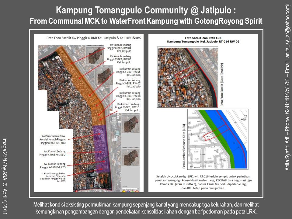 Melihat kondisi eksisting permukiman kampung sepanjang kanal yang mencakup tiga kelurahan, dan melihat kemungkinan pengembangan dengan pendekatan konsolidasi lahan dengan ber'pedoman' pada peta LRK.