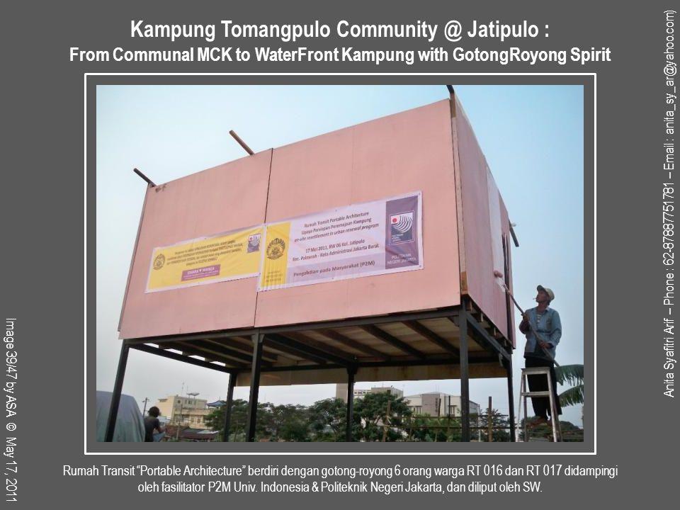 Rumah Transit Portable Architecture berdiri dengan gotong-royong 6 orang warga RT 016 dan RT 017 didampingi oleh fasilitator P2M Univ.