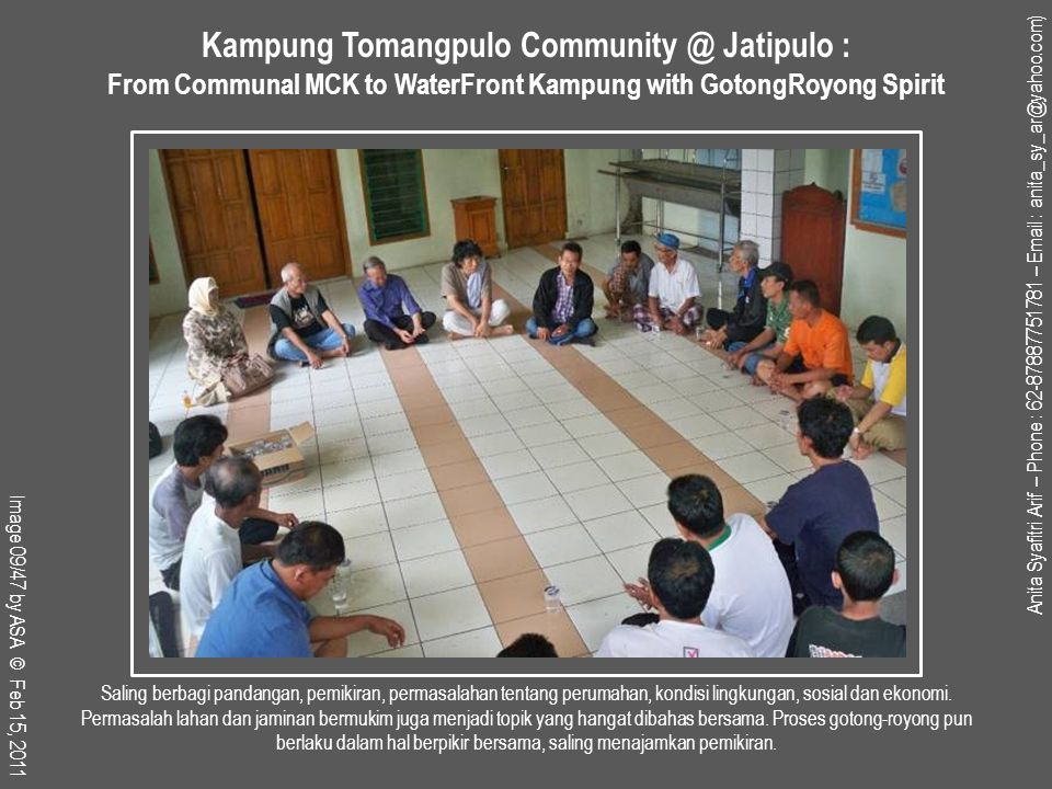 Bang Aceng dan Mba' Yanti, anggota KSM Perumahan Karya Bakti II hadir dalam pertemuan Forkimja.