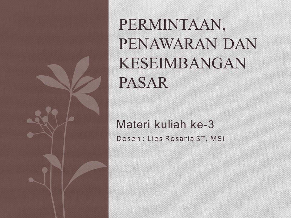 Materi kuliah ke-3 Dosen : Lies Rosaria ST, MSi PERMINTAAN, PENAWARAN DAN KESEIMBANGAN PASAR