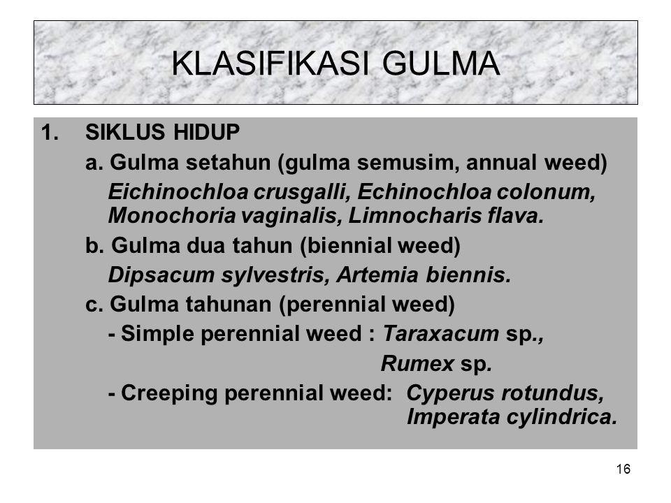 KLASIFIKASI GULMA 1.SIKLUS HIDUP a.