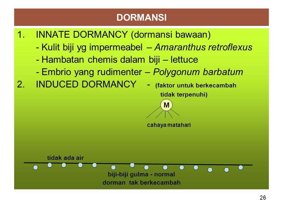 DORMANSI 1.INNATE DORMANCY (dormansi bawaan) - Kulit biji yg impermeabel – Amaranthus retroflexus - Hambatan chemis dalam biji – lettuce - Embrio yang rudimenter – Polygonum barbatum 2.INDUCED DORMANCY - (faktor untuk berkecambah tidak terpenuhi) cahaya matahari tidak ada air biji-biji gulma - normal dorman tak berkecambah M 26