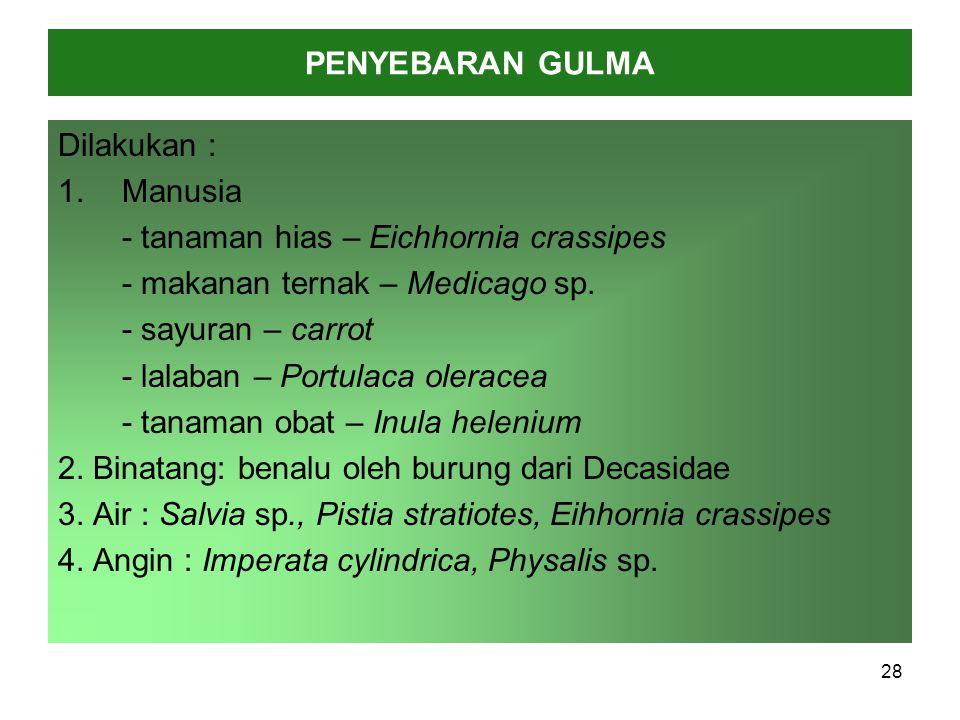 PENYEBARAN GULMA Dilakukan : 1.Manusia - tanaman hias – Eichhornia crassipes - makanan ternak – Medicago sp.
