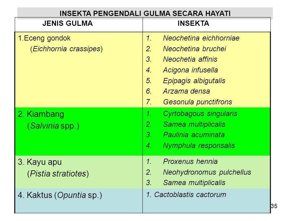 1.Eceng gondok (Eichhornia crassipes) 1.Neochetina eichhorniae 2.Neochetina bruchei 3.Neochetia affinis 4.Acigona infusella 5.Epipagis albigutalis 6.Arzama densa 7.Gesonula punctifrons 2.