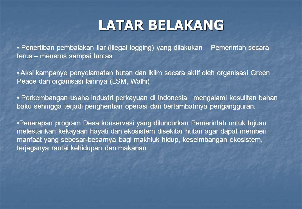 LATAR BELAKANG Penertiban pembalakan liar (illegal logging) yang dilakukan Pemerintah secara terus – menerus sampai tuntas Aksi kampanye penyelamatan
