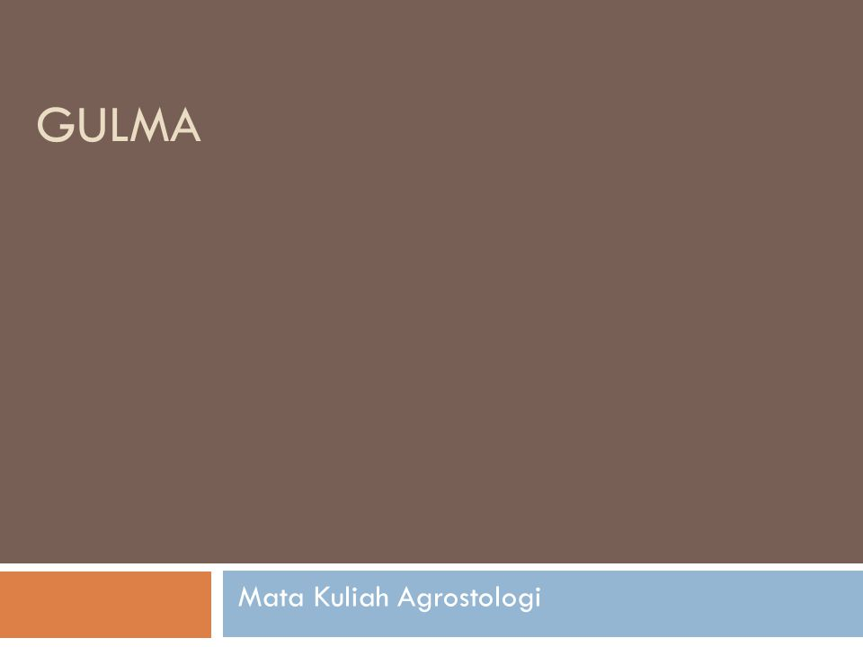 GULMA Mata Kuliah Agrostologi