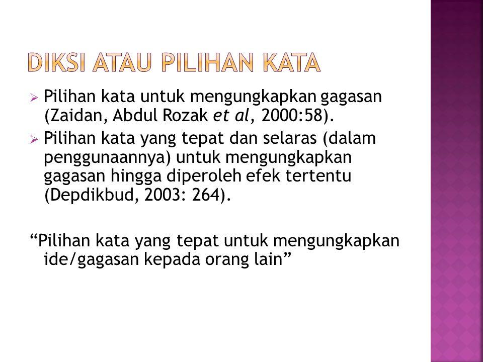  Pilihan kata untuk mengungkapkan gagasan (Zaidan, Abdul Rozak et al, 2000:58).