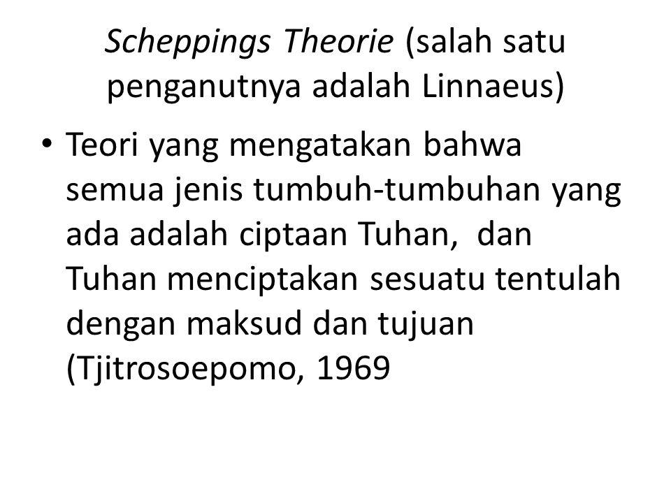 Scheppings Theorie (salah satu penganutnya adalah Linnaeus) Teori yang mengatakan bahwa semua jenis tumbuh-tumbuhan yang ada adalah ciptaan Tuhan, dan Tuhan menciptakan sesuatu tentulah dengan maksud dan tujuan (Tjitrosoepomo, 1969