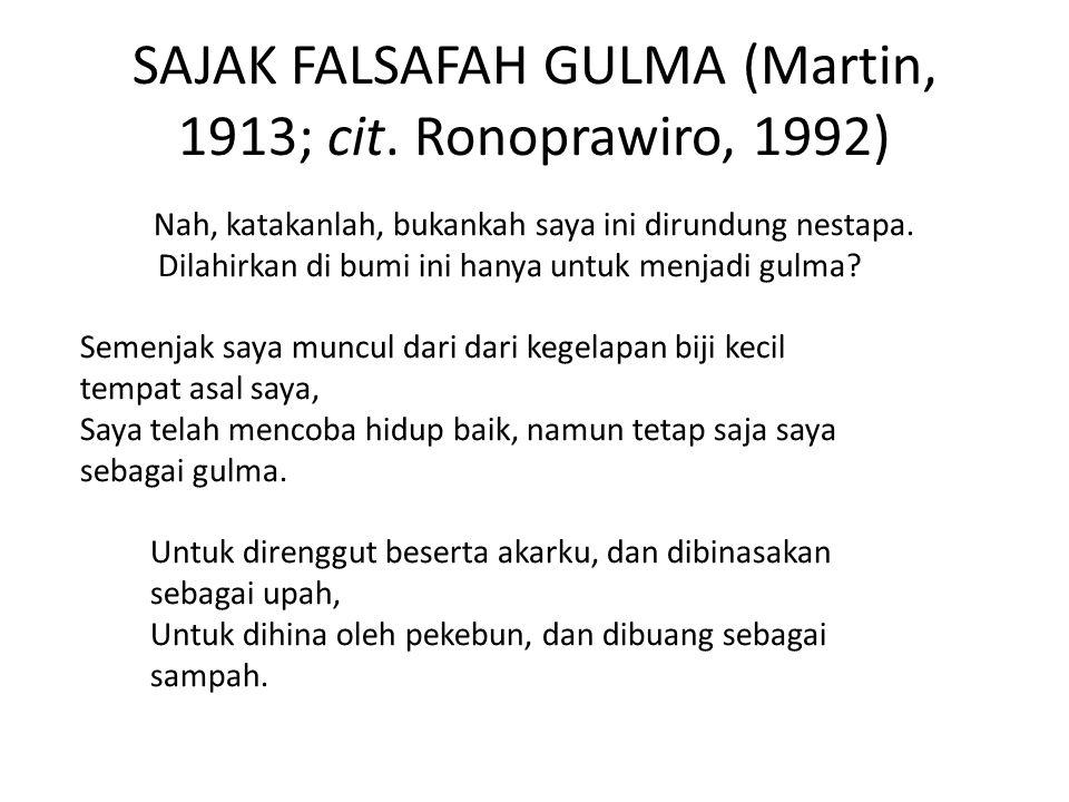 SAJAK FALSAFAH GULMA (Martin, 1913; cit.